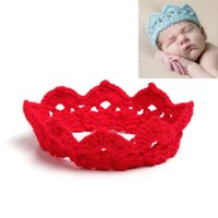 Wholesale Kids Headbands Made - Multicolor Baby Girls hand-made crocheted Crown headband Baby solid cololr knitted hair band kids Photography props