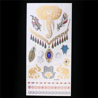 tattoo-abziehbild gold großhandel-Großhandel-1 Blatt Metallic Gold Silber Tattoo Aufkleber Flash Wasserdicht Henna Abziehbild Elefant Feder Frauen Schmuck Temporäre GM-T035 Tattoo