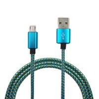 Wholesale Fabric Apples - 1M 3ft Fabric Nylon Braide line Strong Copper Micro USB Sync Data Cable Charger Cord Line For Samsung HTC LG any Smart Phone