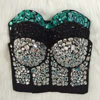 Wholesale Beaded Bras - Wholesale-Original Hand-made Beaded Gaga Rhinestone Bustier Pearls Push Up Night Club Bralette Women's Bra Cropped Top Vest Plus Size
