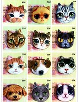 Wholesale One Shoulder Lovely - Hot Sale Lovely Cute Cat Dog Animal Face Print Zipper Coin Purses Purse Wallets Makeup Mini Bag Pouch Over 80style choose Free Shipping