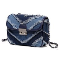 Wholesale cloth cross body bags women - Wholesale- The new women's casual denim cloth Single Shoulder Bag Handbag Chains Shoulder Bag