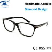 Wholesale Diamond Eyewear Wholesale - Wholesale- Luxury Brand Designer Women Glasses Frames Fashion Clear Lens Spectacle Frame Diamond Eye Glasses Frames for Women Rx Eyewear