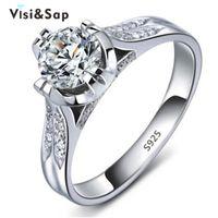 acessórios clássicos zircônia cúbica venda por atacado-Visisap anel de cor de ouro Branco jóias de casamento cubic zirconia atacado anéis para mulheres acessórios de noivado clássico VSR075