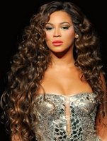 Wholesale Extra long Beyonce brown deep body wave density lace front human hair wig for black women