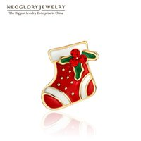 Wholesale Rose Gold Brooches - Christmas Czech Rhinestone Rose Gold Plated Gift boots Cute Brooches for Women Girl 2017 New Brand Neoglory BR1 W1