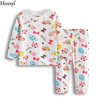 Wholesale Denim Trousers Shirt Fashion - 2017 Autumn Baby Girl Sleep Clothes Sets Cute Fashion Bear Girls Pajamas Suit Brand Christmas Infant T-Shirt Trouser Sleepwear Nightgown