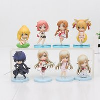 Wholesale Sword Art Online Sao - 4pcs set Retail Sword Art Online figure set SAO Kirito Asuna Niitengo ver Pvc Toys approx 6cm with box