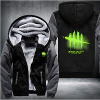 Wholesale Mens Zip Up Hoodie Black - Fashion Mens Sweatshirt Game Dead by Daylight Luminous Logo Thick Hoodies Printing Pattern Zip up Fleece Zipper Tracksuit Tops plus