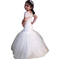 Wholesale Children Strapless Flower Gown - 2017 Blue Children Mermaid Flower Girl Dresses Beaded Little Girls Pageant Gown Kids Junior Communion For Wedding Party QC117