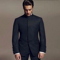 Wholesale Groom Tuxedos Black Mandarin Lapel - Latest Designs Style Groom suits Standing Collar Tuxedos black Mandarin collar Men Wedding suits Dinner Suits jacket+pants
