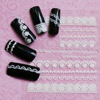 Wholesale Nail 3d Lace Design - NEW 3D DIY strip lace flower Nail Polish Decoration Design White Lace Nail Sticker Nail art tools for women beauty 1 Sheet