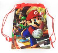 Wholesale pc vaccum - 12 Pcs Non-Woven Cartoon Backpack Super mario bros Drawstring bag Theme Birthday Party Gift Bags Kids Present Storage Bag