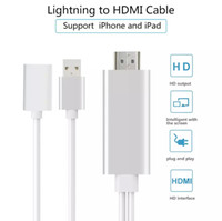 Wholesale Iphone Tv Hd - Lightning to HDMI HDTV 1080P Video AV Cable Adapter HD Display Cable Sync to TV Projector Monitor For iPad iPhone 7 8 Plus Samsung S8