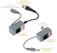 accesorios cctv bnc al por mayor-Accesorios de la cámara CCTV Transmisor de audio y video Balun Transceptor BNC UTP RJ45 Video Balun con audio y alimentación por cable CAT5 / 5E / 6