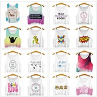 Wholesale 3d Sexy Cartoon Girls - DHL freeship 16 colors Women Fashion Vest Cartoon Anime Galaxy 3D Print Sleeveless Short Crop Top Summer sexy Girl Camis Tanks Tops T-Shirt