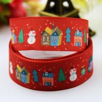 Wholesale Pattern Jewelry Roll - Christmas Red Scene Snowman Socking Pattern Decorative Grosgrain Ribbon Rolls DIY Kids Hair Jewelry Decoden Craft 100yards