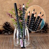 satin en bois achat en gros de-Vente en gros - Crayon à sourcils imperméable noir à la mode Polka Dot Wood Double Eyeliner Thick noir Facile à colorer ne fleurit pas 15cm NO.1603