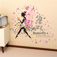 Carta della parete del fiore gonna colorata Buterfly Flower Girl Wall Sticker Home Decor PVC ropa rimovibile para perros vestidos vinile adesivi murali