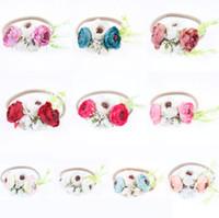 Wholesale Wholesale Newborn Headbands Handmade - INS Baby hair bands flowers headband newborn girls stereo flowers elastic hair bands handmade DIY children photography props R0478