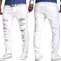 erkek beyaz kopmuş kot toptan satış-Toptan-Yırtık Kot Beyaz kot yeni erkek Biker Sıkıntılı Kot Mens yok skinny jeans homme Ünlü marka erkek tasarımcı pantolon Joggers