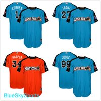 Wholesale Men s American League Carlos Correa Aaron Judge Mike Trout Bryce Harper All Star Game Blue Orange Run Derby Jerseys