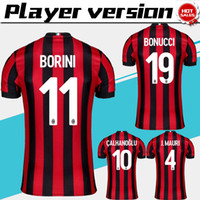Wholesale black ac - New Player Version AC Milan home Soccer Jersey 17 18 AC Milan Soccer Shirt 2018 Customized #10 CALHANOGLU football uniform Sales