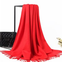 Wholesale Scraves Women - Luxury 300g Thickness Winter Warm Woman Cashmere Pashmina Scarf Solid Color Vintage Scarf Popular Autumn Scraves For Wmen 180x65cm