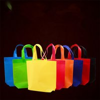 Wholesale Wholesale Recycled Fabric - Candy color plain non-woven bag vertical version custom tote bags customized recycled reusable shopping bags IA578