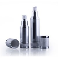 Wholesale glass bottle pump packaging - 10pcs 50ML Silver Matte Empty Perfume Atomizer Vacuum Pump Airless Cosmetic Bottle Makeup Packaging For Travel wholesale EB102