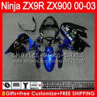 Wholesale Blue Zx9r - 8Gifts 23Colors For KAWASAKI NINJA ZX 9 R ZX9R 00 01 02 03 900CC 40HM7 ZX 9R ZX900 ZX900C ZX-9R 2000 2001 blue black 2002 2003 Fairing kit