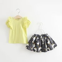 Wholesale Girls Swan Sets - Baby girls outfits children ruffle lace back Bows short sleeve T-shirt +swan printed skirts 2pcs sets kids cotton clothing A0737
