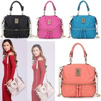 Wholesale Bucket Bag Chain - New Kim Kardashian Kollection Shoulder Bag KK Women Rivet Designer Bag Handbags Fashion Bucket Gold Chain Messenger Bags WX-B28