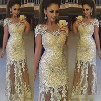Wholesale Elegant Maternity Wear - 2017 Elegant Illusion Lace Evening Dresses Robe De Soiree Lace Applique Floor Length Formal Prom Party Dresses With Cap Sleeves