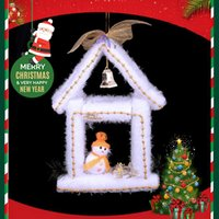 Wholesale Foam Houses - Christmas Decorations White Foam Snow House Xmas Ornaments Gold And Silver Style Home Office Hanging Decoration IN Yuletide