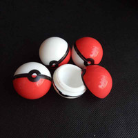 Wholesale Smoking Accessories Case - 6ml pokeball shaped Poke mon Food Grade Silicone Ball Container Case Jar for Dab Oil Dry herb Wax Box smoking accessories
