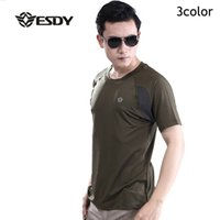 Marca ESDY Outdoor High Stretch Respirável Cheap Sweat Suave Nylon Army Patchwork Jungle Tee Homens Tactical Traning Short Sleeve T Shirt