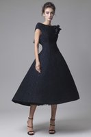 Wholesale Short Wedding Dress Flowered Skirt - black lace A-line tea length wedding dresses 2017 Krikor Jabotian bridal outfits bateau neckline handmade flower in shoulder