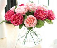blumendekoration für zu hause großhandel-Großhandel 50 stücke Charming Künstliche Seide Stoff Rosen Pfingstrosen Blumen Bouquet Weiß Rosa Orange Grün Rot für hochzeit home hotel decor