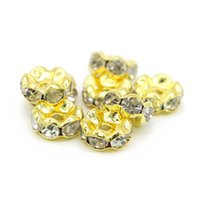 Wholesale Cross Base - Good Quality Wavy Rondelle Spacer Beads Gold Tone Copper Base White Clear Crystal Rhinestone For Diy Jewelry, IA02-02