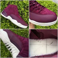 Wholesale Real Discount - Bordeaux retro 12 purple suede top quality wholesale discount men basketball shoes real carbon fibre size eur 41-47 free shipping