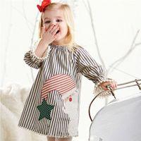 Wholesale Girls New Cotton Frocks - 2017 New Children Clothing Lovely Christmas Santa Claus Frock Kids Girls Toddler Baby Striped Princess Tutu Dress