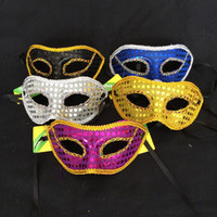 Mens Womens Bright Cloth Party Masques avec dentelle nclosureEdge Masquerade ball Vénitien Sparkle Mask Mardi Gras Costume