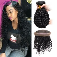 Prix ​​de gros 360 Lace Frontal With Bundle Brazilian Curly 360 Lace Virgin Hair Deep Wave avec fermeture 360 ​​Frontal avec 3 Bundles