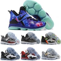 Wholesale Zebra Galaxy - Lebron 14 Men Basketball Shoes James 14s BHM Galaxy Sports Shoes LeBron 14 XIIII Mens Training Sneaker Black Red Zebra Send With Box