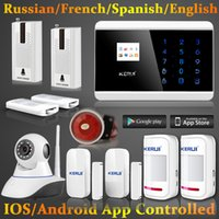 home alarmanlagen dialer großhandel-LS111-Android IOS Drahtlose GSM SMS Home Alarm Sicherheitssystem Auto Dialer Wifi IP Kamera + Shock Tür sensor detektor alarm system