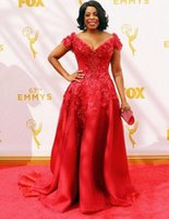 Wholesale Emmy Awards V Neck Ruffle - Glarmous Red Lace Celebrity Dresses Short Sleeves Niecy Nash Red Carpet Dresses 67th Emmy Awards Sexy V Neck Organza Party prom Dress