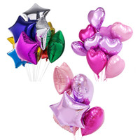 "Wholesale Heart Shape Balloon Decoration - 18"" Baby Shower Or Birthday Decoration Colourful 3 Shape Balloons 14 Color Dot Heart Round Star Shape Foil Mylar Helium Ballon C122L"