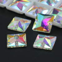 Wholesale Sew Crystal Glass - All sizes Crystal AB Squares Shape Glass Sew On Rhinestones Flatback Sew-On Crystals R3240 50pcs per bag