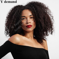 Wholesale Brown Curly Afro Wig - Health Bob Kinky Curly Wigs for Black Women Simulation Human Hair Dark Brown Afro Full Wigs